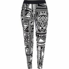 Black and white geometric print joggers £20.00