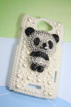 Handmade HTC One X   case pearl panda. $23.00, via Etsy.