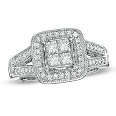 1 CT. T.W. Princess-Cut Quad Diamond Frame Split Shank Ring in 14K White Gold - Zales