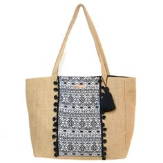 Le Grand sac cabas Nouveau Mexique - sac cabas en toile de jute et jacquard aztèque. Pompon noir en coton. Sac de plage / sac en jute. Jute bag