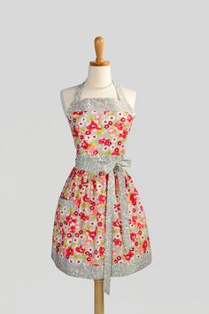 Moda Ruby Floral in Grey and Red Apron