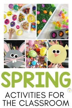 Need some Spring Easter activities for kids in the classroom or home? These sensory bins, playdoh trays, and bunny and chick crafts are perfect for some spring fun with your students. Use with toddlers, preschool, or kinder! #springactivities #classroomactivities