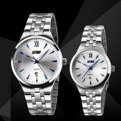 Skmei Stainless Steel Luminous Analog Date Quartz Couple Wrist Watch Waterproof