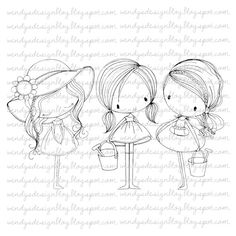 3 Little Summer Girls by alldressedupstamps on Etsy