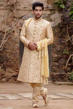 Phenomenal Beige Sherwani Set - Designer Ethnic Wedding Wear For Men Indian Wedding Poses, Wedding Dresses Men Indian, Groom Wedding Dress, Ethnic Wedding, Wedding Wear, Indian Groom Dress, Sherwani For Men Wedding, Wedding Outfit For Boys, Bengali Bridal Makeup