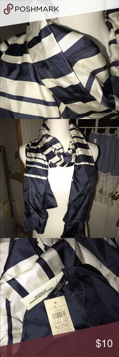 Ann Taylor Silk Scarf Navy and ivory silk striped scarf.  New with tags. Ann Taylor Accessories Scarves & Wraps