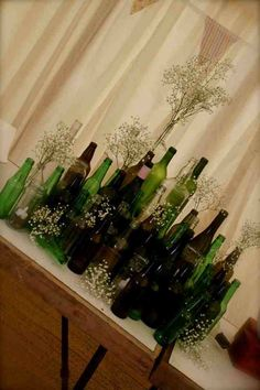 clear bottle and gyp for either gift table or address book table