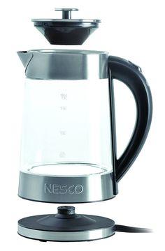 Nesco GWK02 Glass Water Kettle Electric 360* Swivel Base