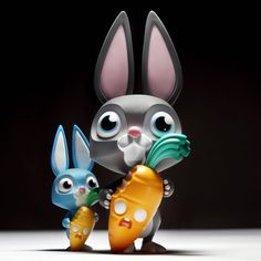 """Coarse Toys Playhouse's """"Nibble and Root"""" vinyl rabbit & carrot figure!"""
