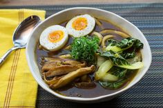 Recipe: Udon Noodle & Tatsoi Soup  with Japanese Curry Broth & Soft-Boiled Eggs - Blue Apron