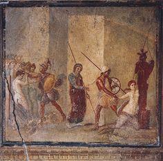 "oinopa-ponton: "" Menelaus and Helen, Ajax killing Cassandra.  A.D. 50 - 79. Italy, Pompeii, House of Menander """