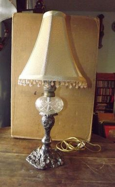 """Vintage Designed Brass & Crystal 14"""" Lamp With Shade Nice Table Lamp  #VintageLamps #Brass #Crystal #Lighting"""