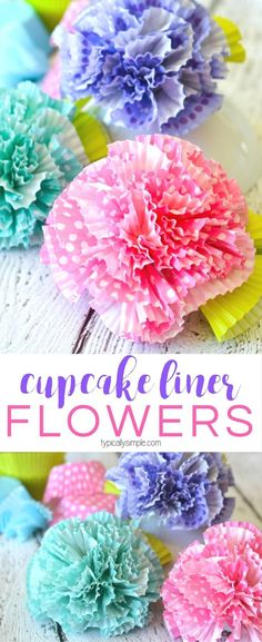 Flowers Cupcake Liners Craft - Typically Simple - - A fun craft using cupcake liners, these flowers would make a great centerpiece for a spring brunch or to use as cute decor for a kids' room or craft room! Cupcake Liner Crafts, Cupcake Liner Flowers, Cupcake Liners, Paper Flowers Craft, Flower Crafts, Paper Crafts, Diy Crafts, Diy Flowers, Room Crafts