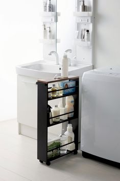 Small Bathroom Organization, Laundry Room Storage, Laundry Room Sink Cabinet, Bathroom Cart, Clever Bathroom Storage, Bathroom Storage Furniture, Undersink Bathroom Storage, Small Bathroom Decorating, Tall Bathroom Storage Cabinet