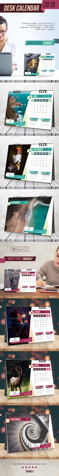 Creative Desk Calendar This is 12 Months Cover Unique & Modern Calendar Template, Very easy to use and customize. Stationery Printing, Stationery Templates, Stationery Design, Calendar Templates, Design Templates, Calendar 2019 Design, Calendar 2018, Office Calendar, Desk Calendars