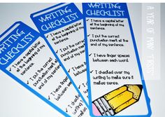 writing checklist bookmarks