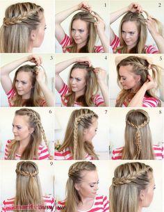 Illustrated narrative half herringbone hair that makes up frisuren Semi Formal Hairstyles, Half Braided Hairstyles, Easy Hairstyles, Girl Hairstyles, Cheer Hairstyles, Brown Hairstyles, Stylish Hairstyles, Medium Hair Styles, Short Hair Styles