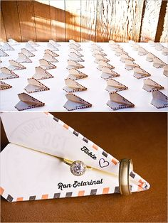 paper airplane escort cards