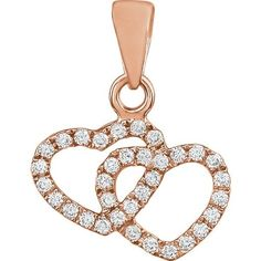 Pre-owned 14K Rose Gold & Double Heart 1/6ct Diamond Pendant (575 AUD) ❤ liked on Polyvore featuring jewelry, pendants, heart jewelry, heart shaped pendant, rose gold diamond pendant, charm pendant and 14k rose gold pendant