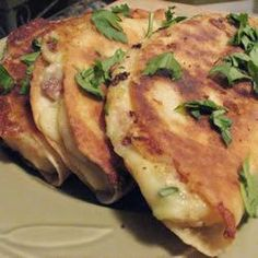 Mashed Potato Quesadillas...Pinner says: these tasted like fried perogies - served with sour cream, really good! Awesome way to use up leftover mashed potatoes.