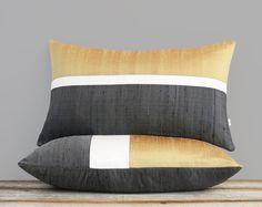 Silk Colorblock Pillow Cover, Ochre, Cream + Charcoal Gray by JillianReneDecor - Autumn, Fall Decor - Golden Yellow Diy Pillow Covers, Decorative Pillow Covers, Cushion Covers, Fall Home Decor, Autumn Home, Autumn Fall, Silk Pillow, Sewing Pillows, Scatter Cushions