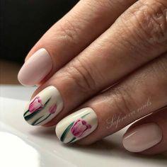 """(@ideas_for_nailart) on Instagram: """"@Regrann from @safonova_nails - тюльпаны ❤️️ручная роспись . . . #маникюр #ногти…"""""""