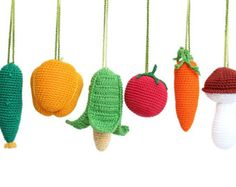 Baby gym toys Vegetables - READY TO SHIP -play gym toys, baby rattles, crochet veggies, activity center mobiles. Hand Crochet, Crochet Toys, Colorful Vegetables, Veggies, Baby Activity Gym, Tactile Stimulation, Play Gym, Soft And Gentle, Baby Rattle