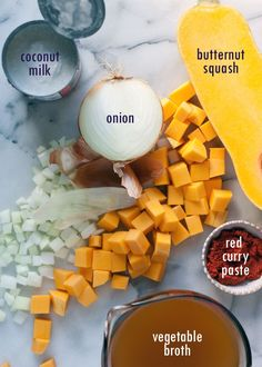 Slow Cooker 5-Ingredient Thai Curry Butternut Squash Soup recipe - This smooth-as-silk fall soup is creamy, dreamy, and full of flavor despite its short list of ingredients.