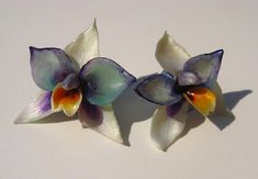 Beautiful Blue White and Turqoise ORCHID FLOWERS - OOAK Marvelous Floral Orchid Earrings, Best Jewelry Perfect Gift for Her Orchid Flowers, Orchids, Perfect Gift For Her, Gifts For Her, Blue And White, Trending Outfits, Unique Jewelry, Handmade Gifts, Floral