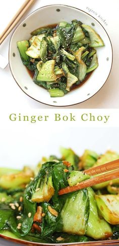 Sautéed Ginger Bok Choy Recipe – Stir-Fried Chinese Green Cabbage- Who can resist this succulent white stems with dark green leaves? Fresh green Chinese green bok choy makes one of the best healthy side dishes. Gout Recipes, Healthy Diet Recipes, Vegetarian Recipes, Healthy Eating, Cooking Recipes, Chinese Food Vegetarian, Healthy Chinese Recipes, Dinner Healthy, Chinese Meals