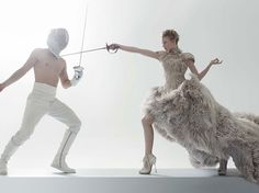 Mia Wasikowska and Michael Fassbender in an awesome fencing-themed photo shoot in W Magazine. The other pictures and both the interviews are also pretty entertaining. Fassbender says he wishes he had a monkey tail like an Indian god.