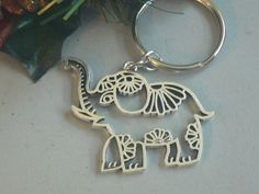 Large Elephant Key Chain Purse Charm Best Friend KeyChain Animal Lovers Key ring Cut Out Hollow Charm Purse Jewelry