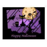 Purple halloween postcard Cat owl bat moon #halloween #happyhalloween #halloweenparty #halloweenmakeup #halloweencostume
