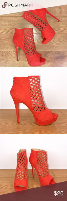 Cage Platform Heel Bootie (never worn) Super sexy reddish orange cage booties from JustFab JustFab Shoes Ankle Boots & Booties