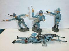 Konvolut 4 alte Hausser Elastolin Massesoldaten Franzosen mit SMG zu 7.5cm | eBay