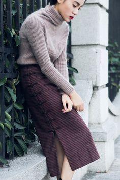 Elegant plaid check wrap midi skirt – a unique product by tdjasmine via en.DaWanda.com
