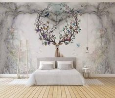 Vintage Fruity Horned Deer Wallpaper Fruit and Flower Branches on Deer Wall Mural Floral Background Wall Art Cafe Decor Living Room Hallway Deer Wallpaper, Wallpaper Size, Wallpaper Murals, Cafe Design, Interior Design, Wall Murals Bedroom, Mural Wall, Wall Art, Wall Treatments
