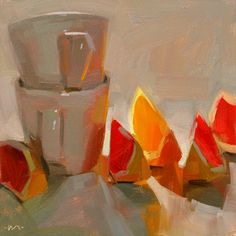 Carol Marine, In Line to Party - such beautiful light in this painting