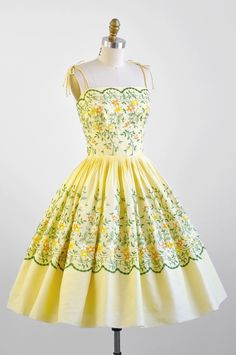 1950s dress. Yellow Cotton Cupcake Party Dress with Floral Embroidery.