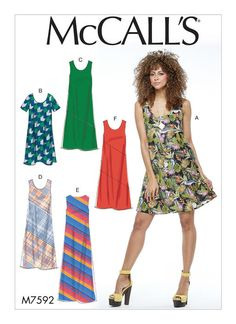 A-line dress sewing pattern from McCall's. M7592 Misses' Pullover Bias-Cut Tank and Short-Sleeve Dresses