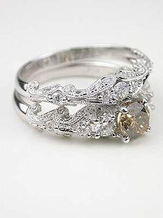Swirling Diamond Wedding Band, Champagne diamond engagement ring hint hint