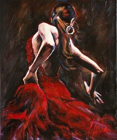 Name: Dancer in Red (Reproduction) This flamenco dancer, painted in chiaroscuro technique, is almost ready to dance out of the canvas. Great play of lights and unique brush strokes make this oil painting on canvas an ultimate choice for any interior.