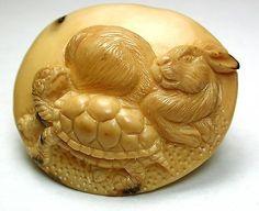 "Hand Carved Vegetable Ivory Button Tortoise  Hare Design 2"" Lg Sz"