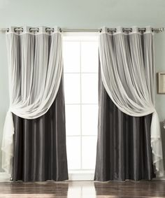 Take a look at this Dark Gray Tulle Lace & Faux Silk Curtain Panel - Set of Four today!