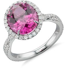 Blue Nile Rubellite Tourmaline and Diamond Halo Ring ($5,400) ❤ liked on Polyvore featuring jewelry, rings, pink tourmaline ring, 18 karat gold ring, twisted band ring, band rings and pave diamond ring