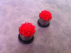 9/16 Stainless Steel Red Flower Resin Plugs by PlugsByKat on Etsy, $22.00