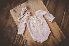 Greta with long sleeves romper set NB size by patriciamueller