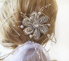 Rhinestone Bridal Haircomb  Vintage Style Hand by ADbrdal on Etsy, $32.00  #bride #wedding #hair