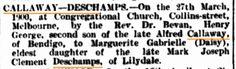 Callaway and Deschamps marriage (great grandparents) 1900 (Argus newspaper)