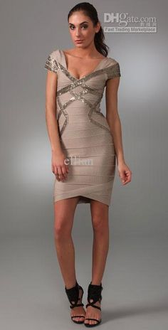 6bf143917e84 Herve Leger Sequin Detail Dress with Cap Sleeves (Khaki)